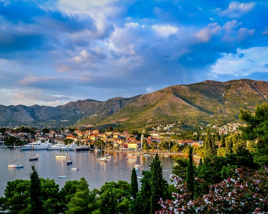 Town of Cavtat, Croatia, with its sea harbour and mountains behind it