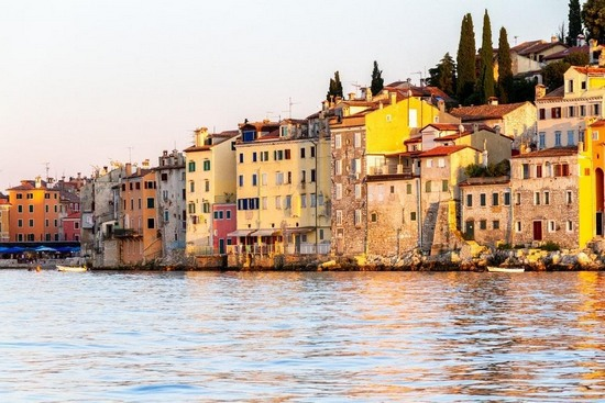 A row of colourful waterfront house in the city of Rovinj, Croatia
