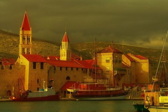 Town of Trogir on a cloudy day