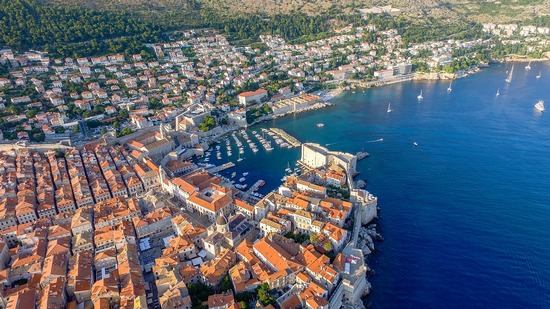 The city of Dubrovnik, with its harbour, viewed from above