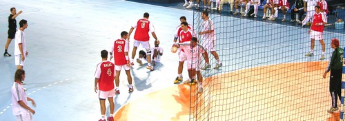 Croatian handball team in a game