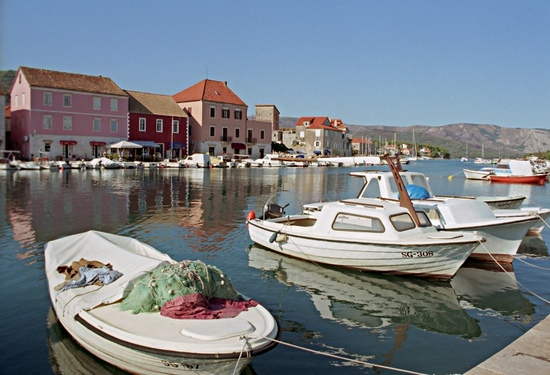 Town of Stari Grad on Hvar island, with small boats in harbour