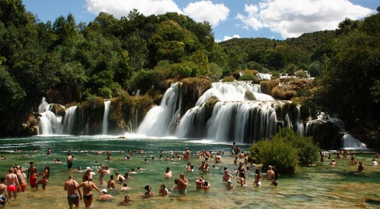 Bathing and swimming crowds at Krka waterfalls