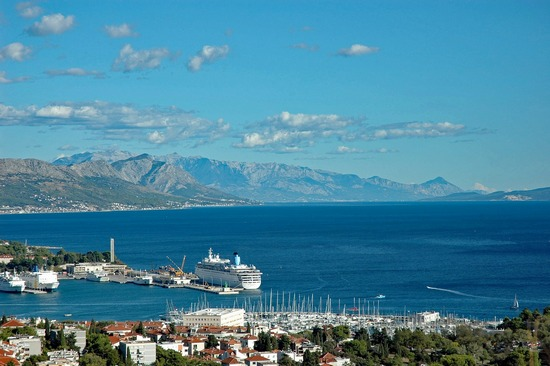 A large cruise ship in Split port, looking towards Velebit
