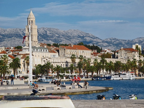 City of Split centre, with Diocletian Palace walls and the city church