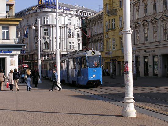 Blue tram in the city of Zagreb