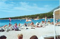 Croatia beach crowds in Bol, Brac island
