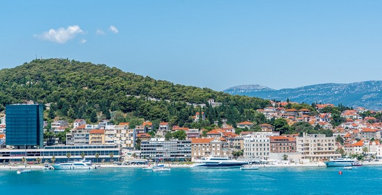 A panoramic view of Split city, facing the ocean, with Marjan hill behind